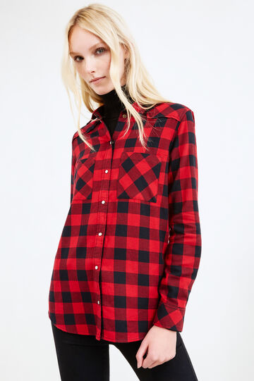 Casual tartan shirt in cotton, Black/Red, hi-res