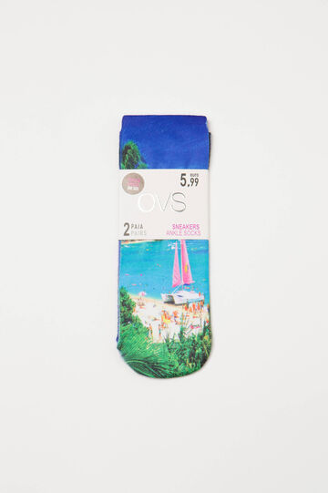 Two-pair stretch socks with print, Blue, hi-res