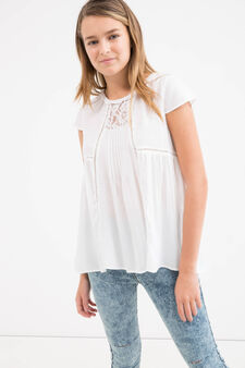 Teen pleated blouse in 100% viscose, White, hi-res