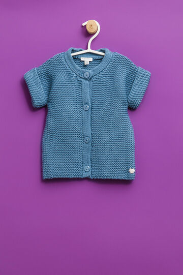 Solid colour short-sleeved cardigan, Soft Blue, hi-res