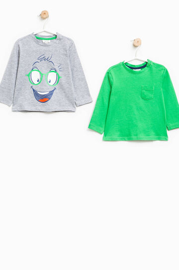 Two-pack T-shirts with print and pocket, Grey/Green, hi-res