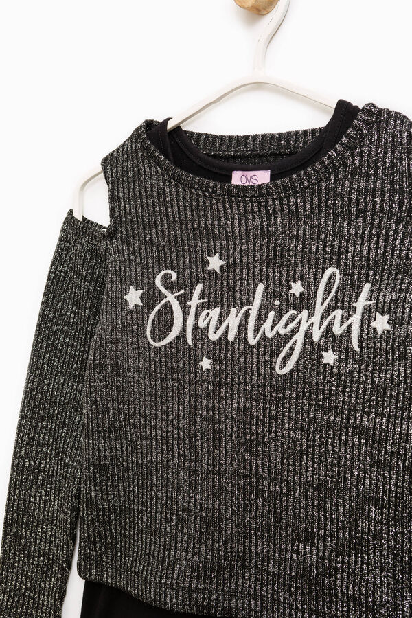 Ribbed sweatshirt with glitter and print | OVS