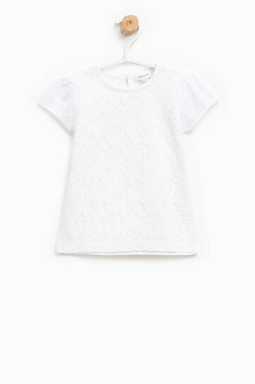 Stretch cotton T-shirt with lace