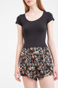 Shorts pura viscosa fantasia floreale, Nero, hi-res