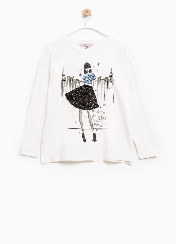 T-shirt with sequins, patches and glitter | OVS