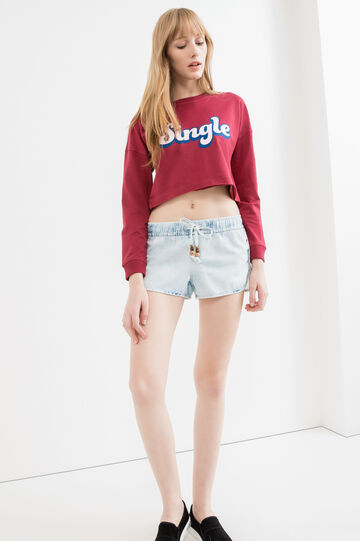 Denim shorts with drawstring with beads, Light Wash, hi-res