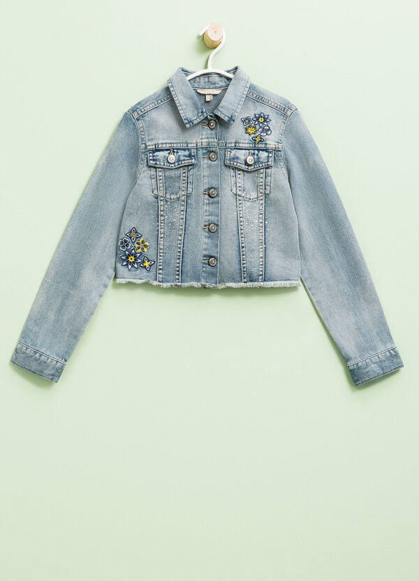 Denim crop jacket with embroidery and diamantés | OVS