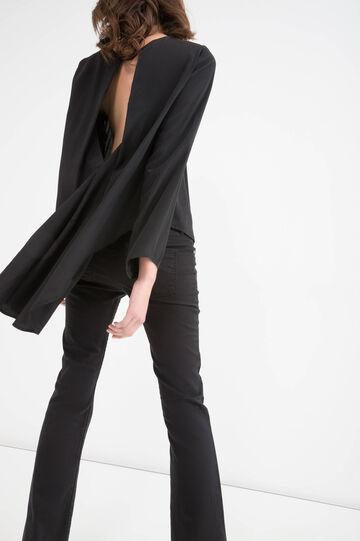 Blouse with asymmetric hem, Black, hi-res