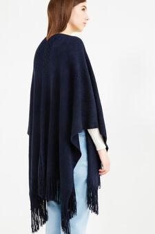 Knitted poncho with solid colour fringing, Navy Blue, hi-res