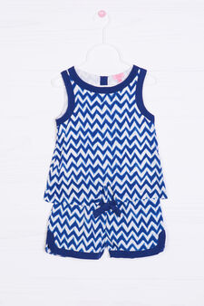 Sleeveless patterned playsuit, White/Blue, hi-res