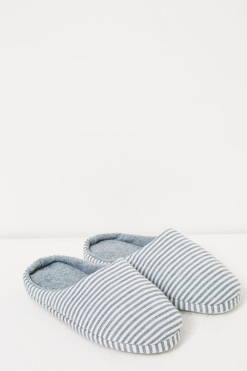Striped jersey slippers, White/Grey, hi-res
