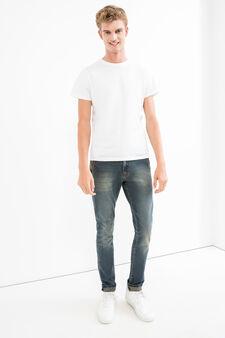 Jeans slim fit stretch effetto used, Lavaggio scuro, hi-res