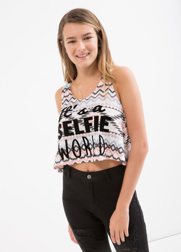 Crop top with all-over Teen print | OVS