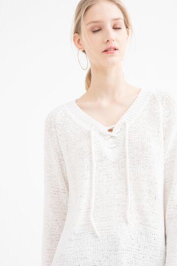 Solid colour V-neck pullover, White, hi-res