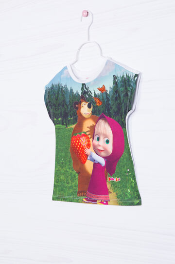 Masha and the Bear T-shirt in stretch cotton, White, hi-res