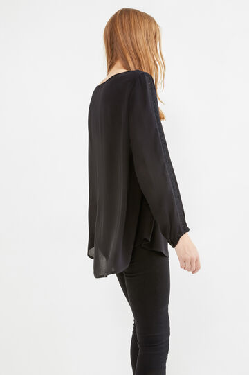 100% viscose blouse with pleated motif, Black, hi-res