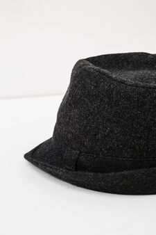 Hat with solid colour band, Grey, hi-res