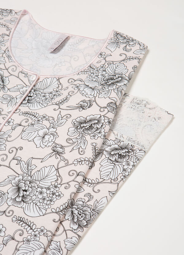 Nightshirt with print and lace | OVS