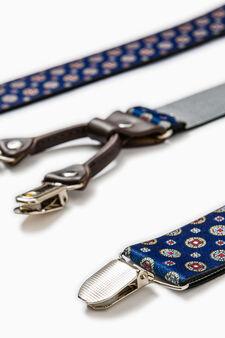 Bretelle con clip fantasia a contrasto, Blu navy, hi-res