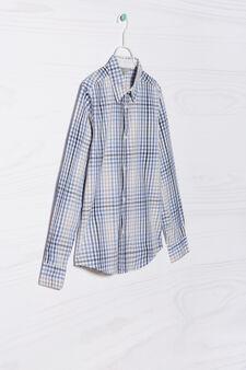 Camicia in puro cotone quadretti, Azzurro/Giallo, hi-res