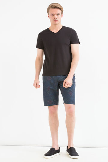 Bermuda shorts in 100% cotton with floral pattern, Blue, hi-res