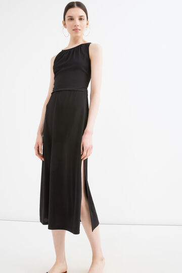 Solid colour stretch dress with tie., Black, hi-res