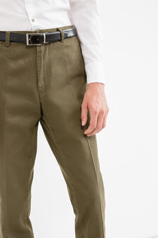 100% cotton trousers with crease, Forest Green, hi-res
