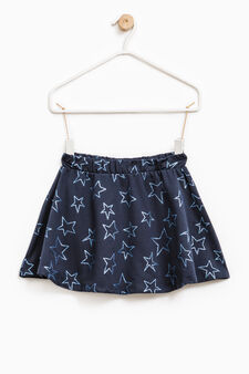 Stretch cotton skirt with star pattern, Blue, hi-res