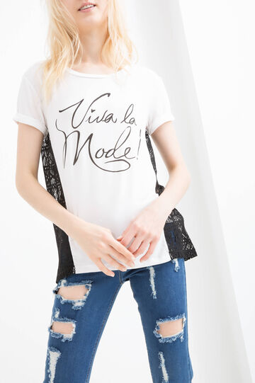 Viscose T-shirt with printed lettering, Milky White, hi-res