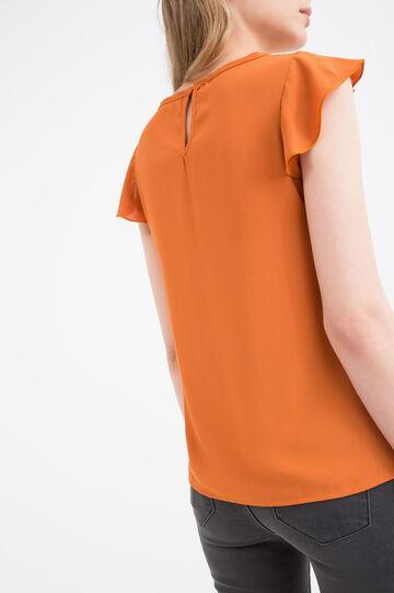Solid colour sleeveless blouse, Orange, hi-res