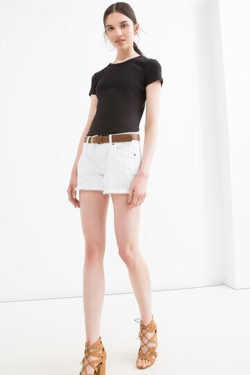 Solid colour cotton blend T-shirt, Black, hi-res