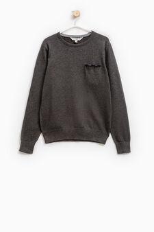 Solid colour 100% cotton knit pullover, Dark Grey Marl, hi-res