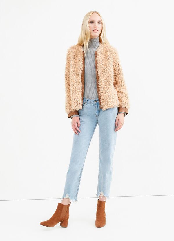 Solid colour faux fur jacket | OVS