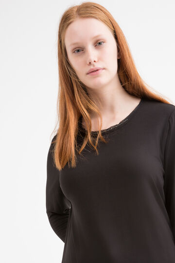 Curvy T-shirt with diamanté appliqués, Black, hi-res