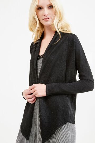 Glitter cardigan with shawl neck, Black, hi-res