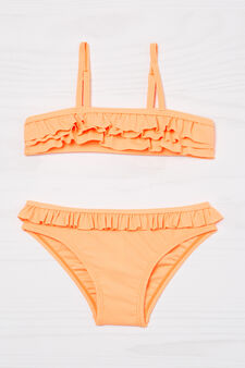 Stretch bikini with flounces, Orange, hi-res