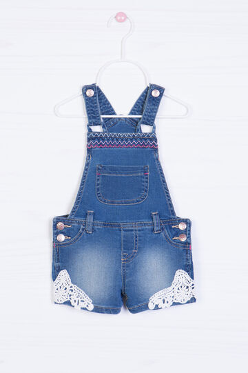 Short denim dungarees with inserts