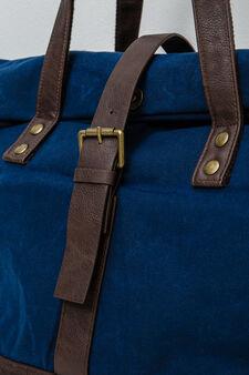 Cotton shoulder bag with buckle, Navy Blue, hi-res