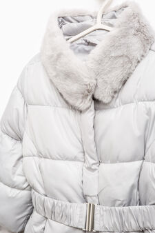 Down jacket with fur and belt, Grey, hi-res