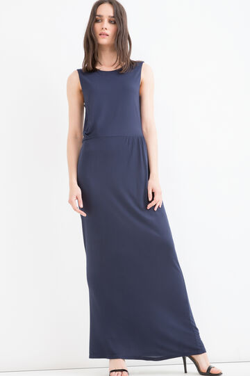 100% viscose long dress, Blue, hi-res
