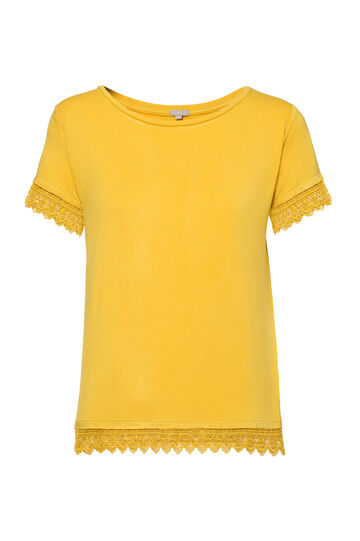 Smart Basic stretch lace T-shirt, Banana Yellow, hi-res