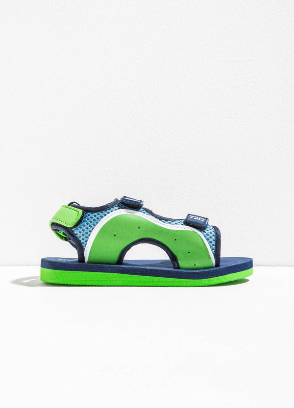 Two-tone sandals with Velcro fastening | OVS
