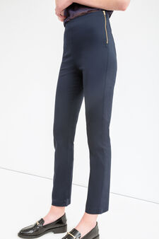 Solid colour stretch trousers, Navy Blue, hi-res