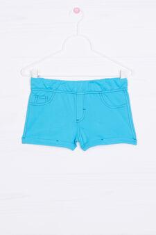 Solid colour 100% cotton shorts, Turquoise Blue, hi-res