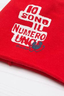 Printed cotton beanie cap, Red, hi-res