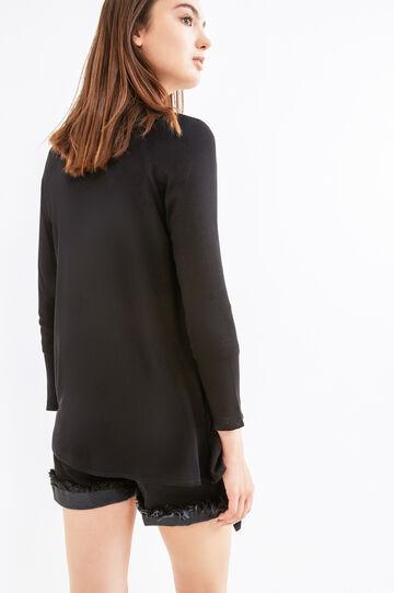 Shawl-neck cardigan in 100% viscose, Black, hi-res