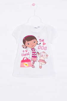 Stretch cotton T-shirt with Disney print, White, hi-res
