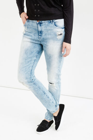 Curvy worn-effect stretch jeans, Light Wash, hi-res