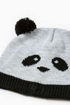 Beanie cap with embroidered panda, Black/Grey, hi-res