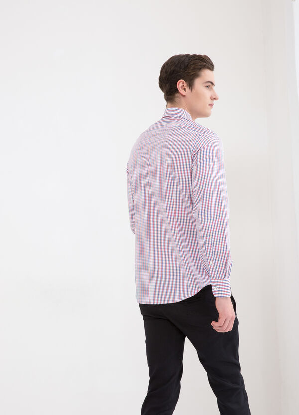 Slim fit check shirt in 100% cotton | OVS